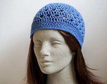 Blue Crochet Hat Light Weight Beanie Cornflower Blue Beanie Slate Blue Crochet Beanie Womens Beanie Teen Girls Beanie (HAT103 Sky Blue)