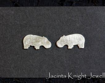 Sterling silver hippo stud earrings