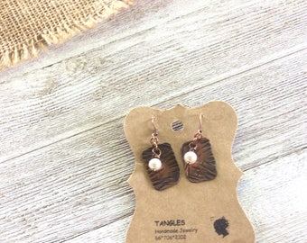 Patina Copper &Pearl Earrings