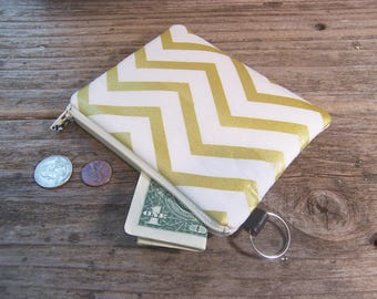 Change purse- Coin purse -  small zipper wallet in gold chevron fabric has a keyring ,will fit all your cards and change.