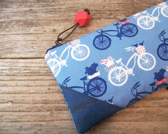 Navy blue simple clutch with cute bikes,zipper bag ,pouch,travel bag,pencil case,college kid,project bag,women's gift,cosmetic bag,make up