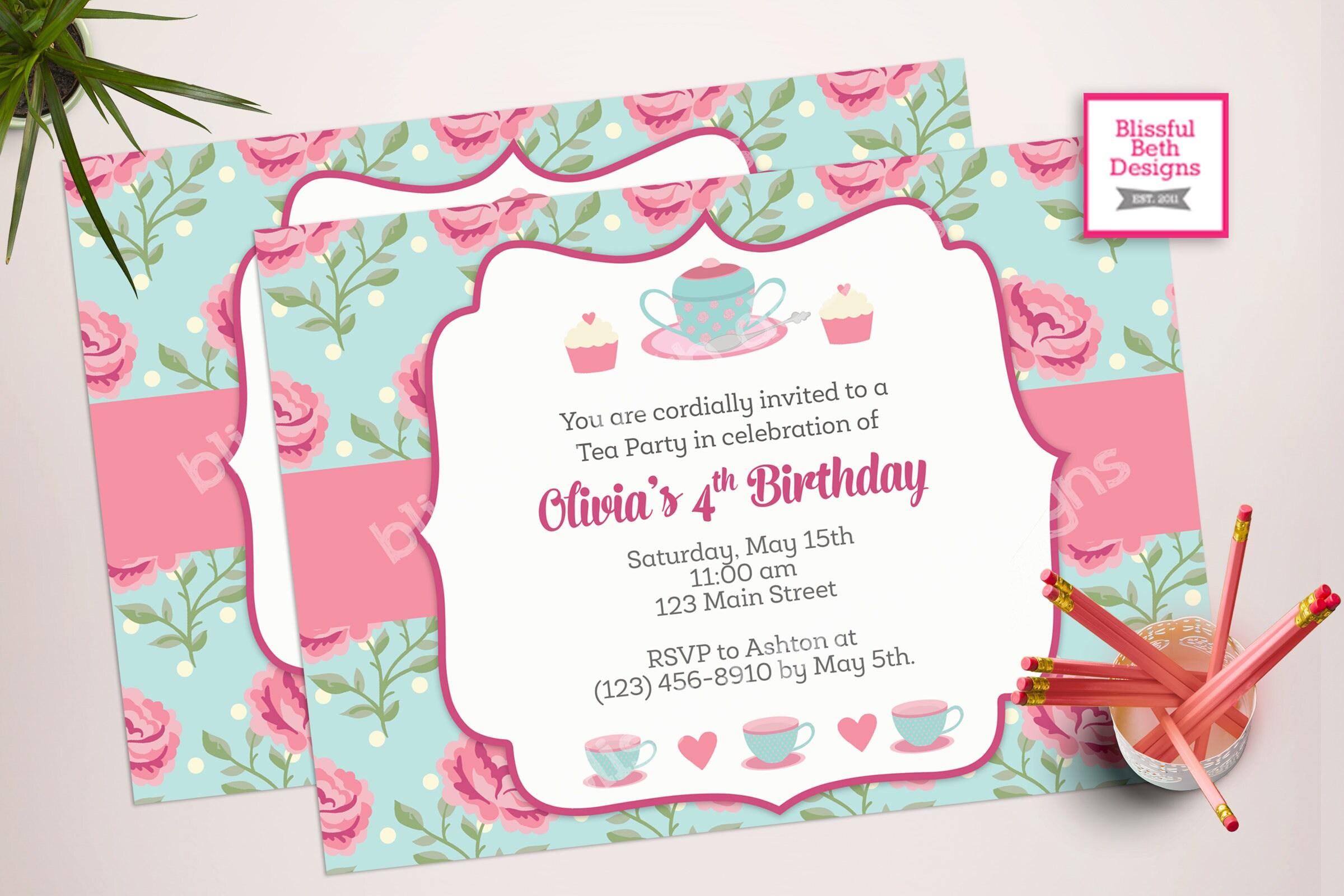 SHABBY CHIC TEA Tea Party Birthday Invite Printable Tea Party – Tea Party Birthday Invites