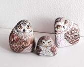 Hand Painted Stone Owl Feather Bird . set of 3 River rock Artwork. Home Garden Decor. 3D animal. READY TO SHIP