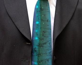 necktie handpainted teal silk twill handprinted black abstract 'sprigs'