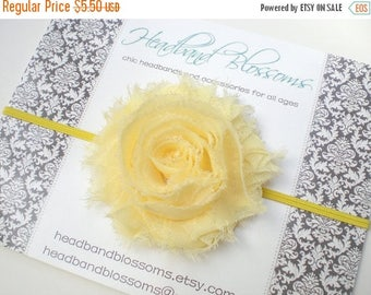 SALE Yellow Frayed Chiffon Flower Skinny Headband - Photo Prop - Newborn Infant Toddler - Baby Shower