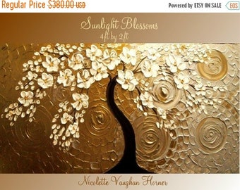 SALE ORIGINAL XLarge 4ft x 2ft   gallery wrap canvas-Contemporary impasto  abstract  floral painting by Nicolette Vaughan Horner