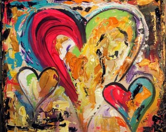 """Original 24""""gallery canvas Abstract 3 HEARTS painting,Original comtemporary Art,lots of texture Ready to hang  by Nicolette Vaughan Horner"""