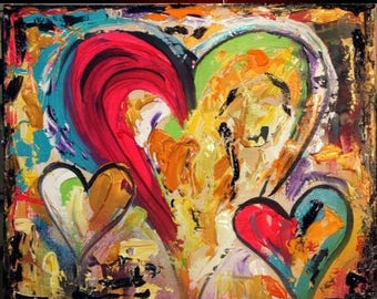 "SALE Original 24""gallery canvas Abstract 3 HEARTS painting,Original comtemporary Art,lots of texture Ready to hang  by Nicolette Vaughan Hor"