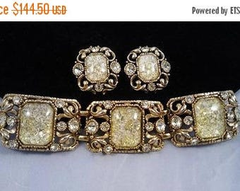 On Sale Vintage Selro Selini Renaissance Revival Rhinestone Bracelet Earring Set - High End Hard To Find Designer Signed Rare Jewelry