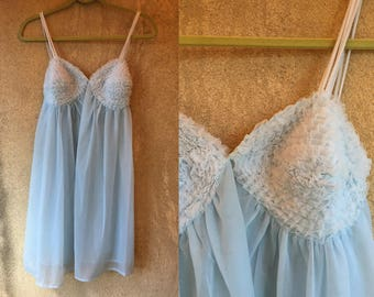 BABY Blue Pastel Lace Sheer Nightgown Whimsical Girly Princess Mini Dress