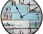 "BLUE RUSTIC WOOD Clock - Extra Large 15.5"" to 16"" Wall Clock - 2025-16"