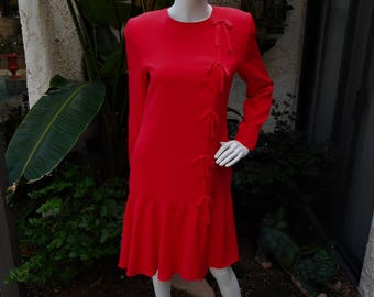 Vintage 1990's David Hayes Red Silk Dress - Size 8
