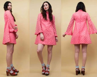 60s Vtg Killer! Pink DAISY Lace Angel Sleeve Micro Mini Dress / BABYDOLL Mod Iconic Twiggy GoGo Garage Rock Xs Sm
