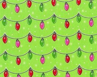 12% off thru July TWINKLY LIGHTS red green on green Michael Miller  Christmas quilters cotton fabric by the HALF yard Cx6632-garland