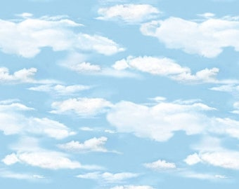 12% off thru July OH DEER! Light blue sky clouds white cotton print by the 1/2 yard Wilmington fabric-30164-401
