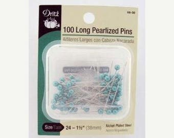 12% off thru July DRITZ - 100 long PEARLIZED straight PINS aqua turquoise pearl heads 1.5 inches long