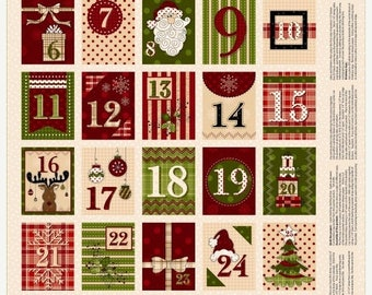 20 % off thru 8/20 GLAD TIDINGS Fabric Panel  to make Christmas ADVENT  Calendar Henry Glass fabrics Whole Country Caboodle-kindness tags- g