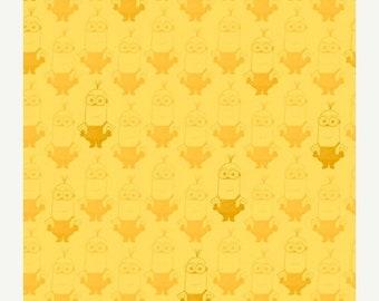 15% off thru Mar.19th MINION MOVIE-by the half yard by Qt fabrics-packed minions~yellow tonal- tone on tone- 24316-s