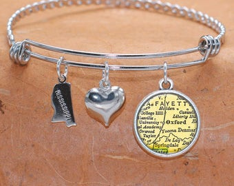Oxford MS Map Charm Bracelet State of Mississippi Bangle Cuff Bracelet Vintage Map Jewelry Stainless Steel Bracelet Gifts For Her