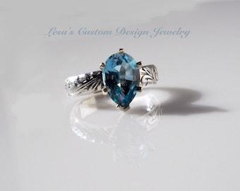 3.50ct Sky Blue topaz sterling silver Art Deco ring