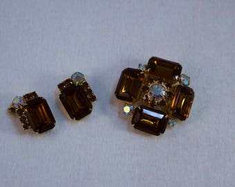 Vintage Juliana Topaz and AB Rhinestone Brooch and Matching Clip Earrings