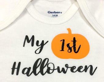 My 1st Halloween Infant Bodysuit, Newborn, Graphic Tee, Holiday, Halloween, Pumpkin, Gift Set