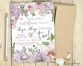 Second Birthday Party Invitation Wildflowers Like a Wildflower She Grew Turning Two  Shabby Chic Floral Watercolor Wildflowers 2nd Milestone