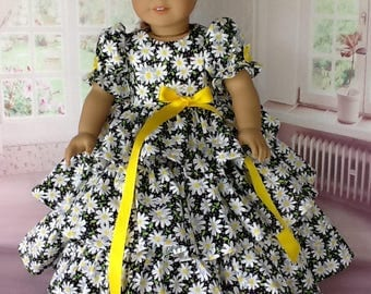 18 inch doll Retro ruffled dress.  Fits American Girl Dolls. Black Daisy print.