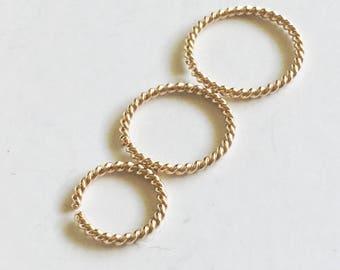 Hex Cartilage Hoop Piercing Earring - Twist Small Hoop - 21 gauge hoop - Hoop Earrings - 6mm 7mm 8mm 9mm 10mm inner diameter endless hoop