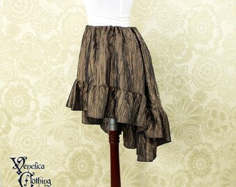 """Steampunk High Low Mini Cecilia Skirt -- Copper Blue Crinkle Taffeta -- Ready to Ship -- Best Fits Up To 45"""" Waist"""