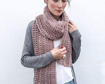 Chunky Infinity Pink scarf / Extra Long / crochet/Ines/ Wool