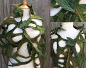 Leaf Wrap-leaf shawl-green shawl-pixie elf-woodland costume- fantasy costume-festival- Felted scarf-green