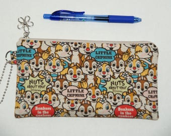 """Padded Zipper Pouch / Pencil Case / Cosmetic Bag Made with Japanese Cotton Lnen Fabric """"Chip and Dale"""""""
