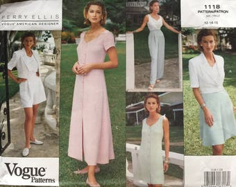 Vogue 1118, Size 12-14-16, Perry Ellis Misses' Jacket, Dress, Top, Skirt, Shorts and Pants Pattern, UNCUT, Designer, Wedding, Fashion, 1993