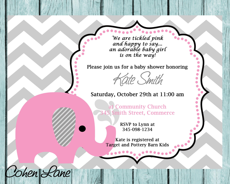 Elephant Invitation Pink Elephant Invite Elephant Baby