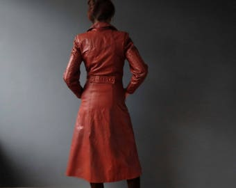 Vintage 70s Burgundy Persimmon  Leather Hipster Trench Coat Coat Jacket, Small