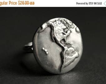 SUMMER SALE Earth Ring. World Ring. Pewter Button Ring. Planet Earth Ring. Adjustable Ring. Silver RIng. Handmade Ring. Pewter Ring. Handmad