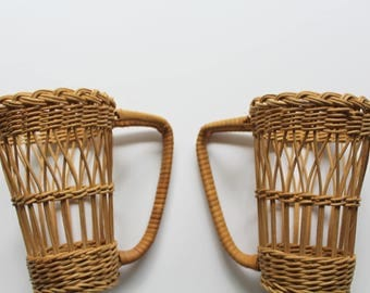 Vintage Wicker Rattan Tapered Cup Holder 2-Pack 1970s