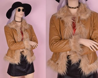 90s does 70s Leather Shaggy Faux Fur Trim Jacket/ Medium/ 1990s