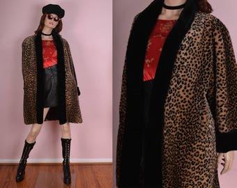 80s Leopard Print Faux Fur Coat/ One Size/ 1980s/ Jacket/ Spotted