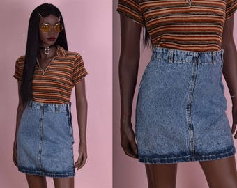 80s Acid Wash High Waisted Denim Skirt/ US 7/ 26 Waist/ 1980s