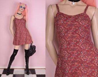 90s Floral Print Mini Dress/ XS/ 1990s