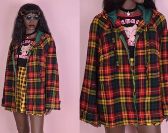 60s 70s Plaid Hooded Jacket/ Large/ 1960s/ 1970s