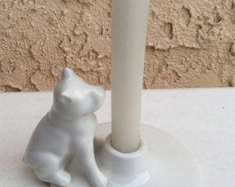 Vintage white porcelain/ ceramic  dog candleholder  Home decor