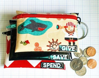 Pirates Give Save Spend cash envelopes for kids | wipeable kids budget wallet set