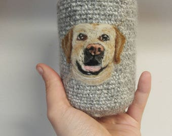 Yellow lab can cozy needle felted