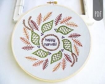 Embroidery Pattern PDF Happy Harvest Leaves Mandala