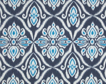 One Custom Twin Size Daybed Mattress Cover Indoor/Outdoor  - Ikat Floral - Navy Blue Turquoise - SUNDAY Special
