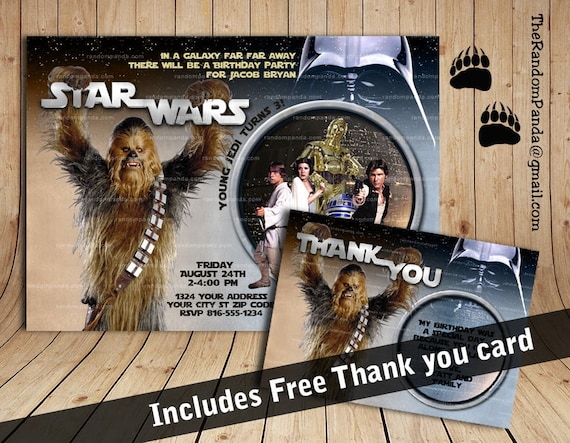 Star Wars Birthday Greeting Free ~ Star wars invitation chewbacca party star wars birthday invite by