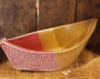 Dory Dip Boat in Cranberry Sienna by Village Pottery PEI